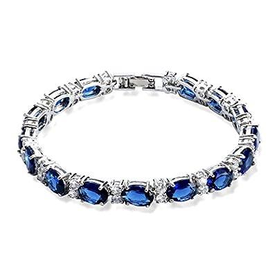 SELOVO Wedding Cubic Zirconia Bracelet Chain Link Silver Tone