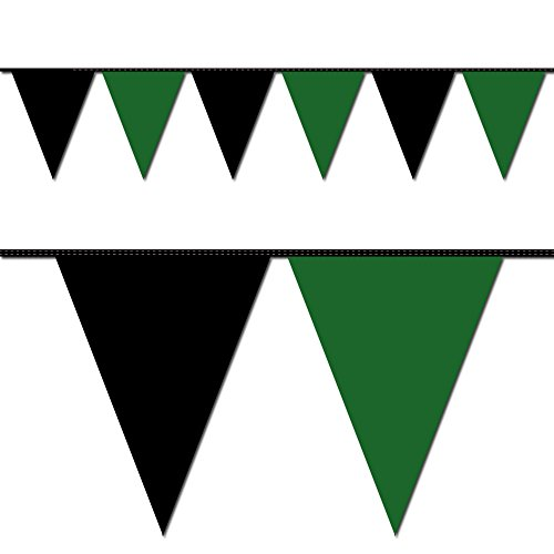 Ziggos Party Black and Green Triangle Pennant Flag 100 Ft. -