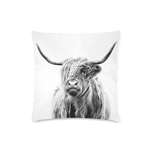 Highland Cow Deisign Custom Zippered Cushion Cases Cotton Pillow Cover Two Side 16x16 Inch