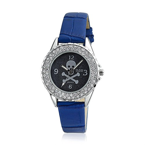 Bling Jewelry Skull and Crossbones Crystal Round Blue Watch Stainless Steel Back
