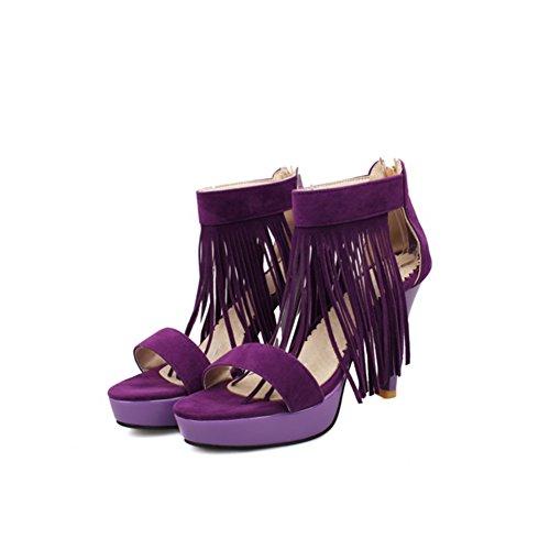 Con Los Tacones En Verano,Zapatos Retro Peep-toe Con Gruesas Sexy Con púrpura