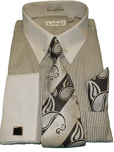 (Karl Knox SX4415 Mens Gray Stripe White Cuff/Collar Eyelet Pin Dress Shirt + Tie (XL 17.5 Collar 34/35 Sleeve) )
