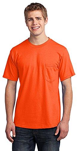 - Port & Company Mens All-American T-Shirt with Pocket, Safety Orange, Medium