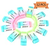 Xgood 12 Packs Portable Colored Cube Pencil Flexible Rubber Erasers Soft Durable Gift Eraser for School,Office,Kids,Girls