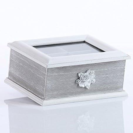 Bianco DiKasa Home Scatola Te Shabby Legno 23x18x9 cm