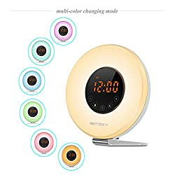 Zerosky Wake Up Light Alarm Clock, Digital Wake Up Light with FM Radio, 6 Nature Sounds and 7 Colors Changing LED Night Lights, Touch Control Sunrise Simulation Alarm Clock