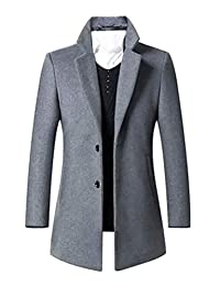 Mens Trench Coat Single Breasted 2 Buttons Long Jacket Overcoat