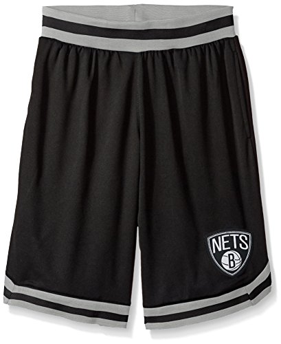 fan products of NBA Men's Brooklyn Nets Mesh Basketball Shorts Woven Active Basic, X-Large, Black