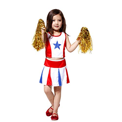 LOLANTA Girls Cheerleader Costume Uniform Youth Star Cheer Outfit Match Pompoms (4-5)