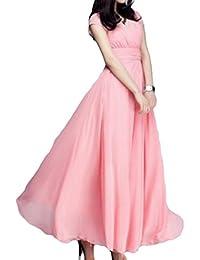 51bd45dd65a4 Casual Solid Short Sleeve Chiffon V-Neck Loose Swing Evening Maxi Dress