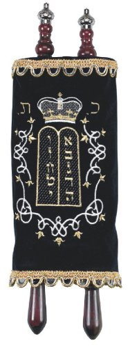 (Children's Large Sefer Torah Navy Velvet with Torah Pointer Yad and Silver Crowns)