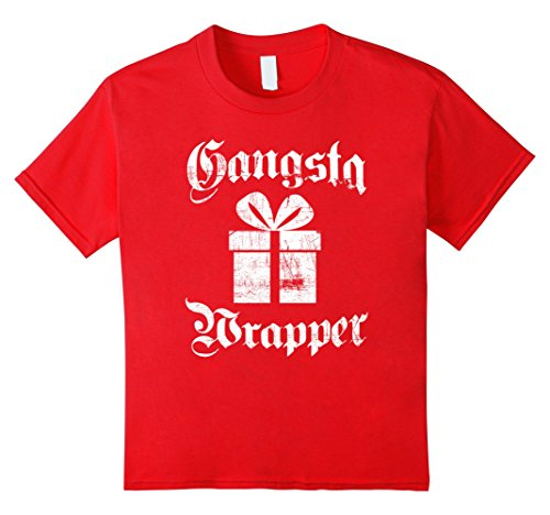 [Kids Gangsta Wrapper Funny Holiday Christmas Gift Rapper T-Shirt 10 Red] (Holiday Wrapper)