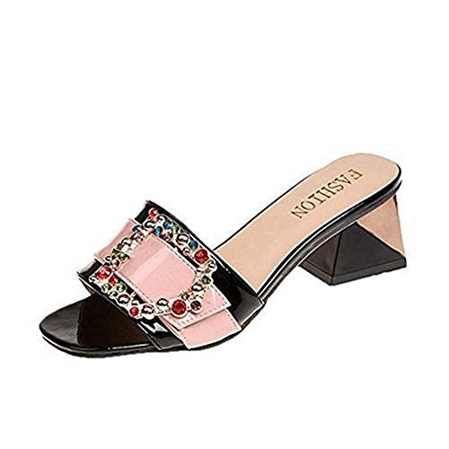 T-JULY Rhinestones Chunky Heel Belt Buckle Sandals for Women Open Toe Slip On Dress Low Heel Summer Slipper Pink from T-JULY