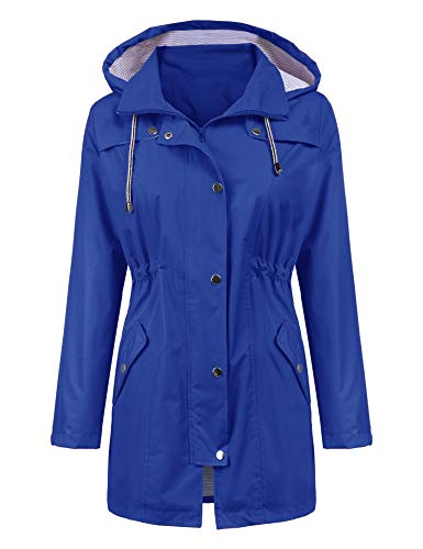 LOMON Raincoat Women Waterproof Long Hooded Trench Coats Lined Windbreaker Travel Jacket Blue S