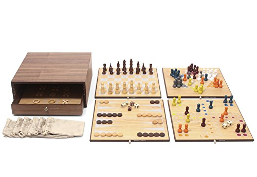 Oak Finish Game - Collector's Edition 5-in-1 Game Set with Walnut & Oak Finish