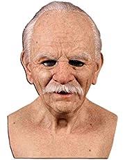 Seesii Realistic Latex Old Man Mask Male Disguise Halloween Fancy Dress Head, The Elder Old Man Headgear for Masquerade Halloween Realistic Headgear Decor, Human Wrinkle Scary Hat