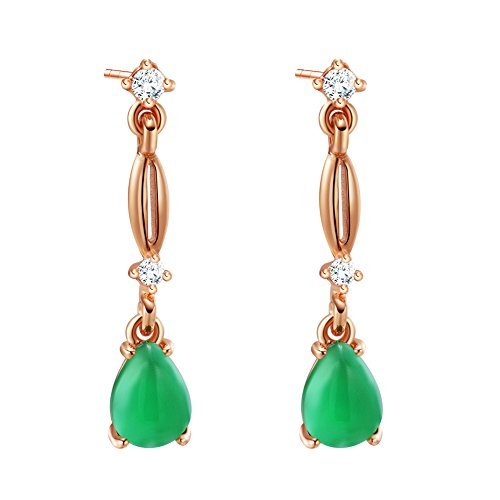 Adorable Dangling Good Luck Amulet Gold-Tone Sparkling Crystals Teardrop Green Simulated Jade (Green Jade Crystal Earring)