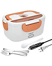 Portable Electric Lunch Box, ERAY Car Food Heater Warmer Heating with Removable 1.5L Stainless Steel Container for Home Office School, 12V & 24V/ 110V 40W Adapter