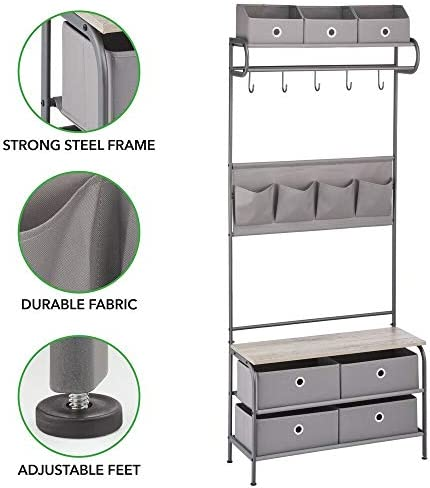 mDesign Standing Coat Rack – Hallway Storage Unit with 5 Hooks, 4 Pockets and 7 Drawers – Coat Rack Bench for Hallways and Porches – Dark Grey/Grey