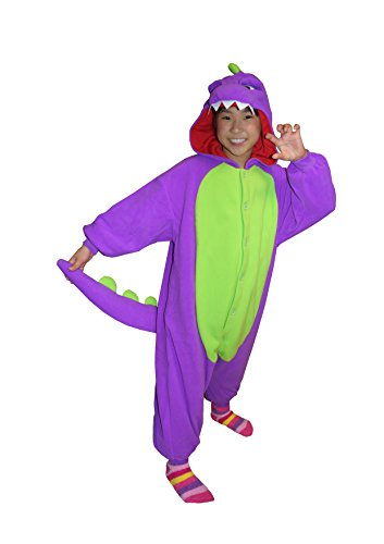 [Dinosaur Kigurumi (5-9 Years, Purple)] (9 To 5 Costumes)