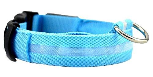 JIKUO Distinctive LED Pet Dog Collar Night Safety Collar Buckle Neck Flashing Light D Pendant Nylon Collar ()