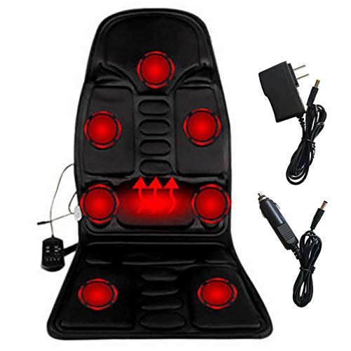 Uheng Shiatsu Massage Vibrating Car Seat Cushion Back and Neck Massager Chair Pad with Heat Ventilated Kneading, 5 Modes for Car, Home, Office, Travel