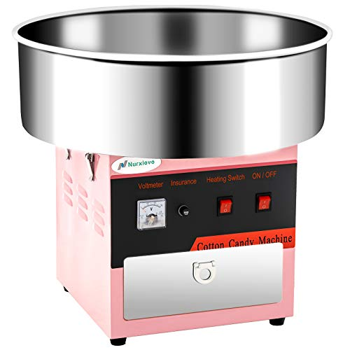(Cotton Candy Machine -Nurxiovo 21'' Tabletop Electric Large Commercial Cotton-Candy Maker Stainless Steel Candy Floss Maker with Sugar Scoop and Big Drawer Pink for Various Parties)