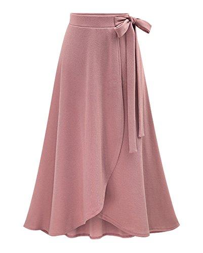 Abito Elegante Pink Asimmetrica Mare Alta Donna Pieghe Gonne Vita A Spiaggia Lunga Gonna 7FwqP01