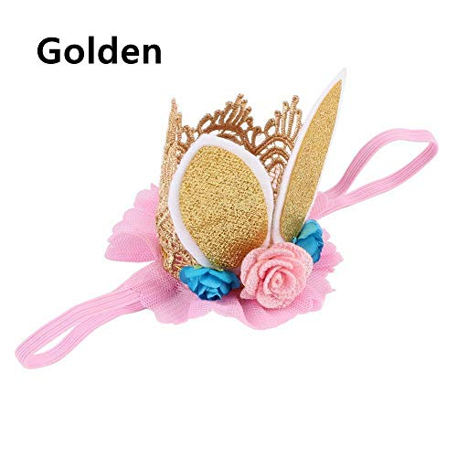 Glitter Lace Rabbit Bunny Ears Kids Baby Headband Hair Band Flower Crown (color - gold)