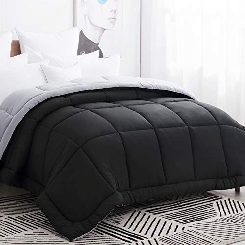 Bedsure Down Alternative Comforter Queen/Full Size Black Grey Reversible Microfiber Comforter Duvet