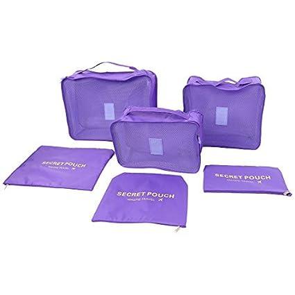 eDealMax Exterior Con cremallera cosméticos Calcetines Underware equipaje de embalaje del organizador del almacenaje del recorrido