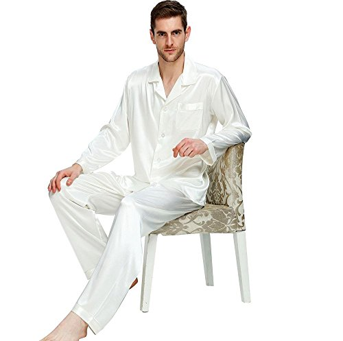 Mens Silk Satin Pajamas Set Sleepwear Loungewear White L