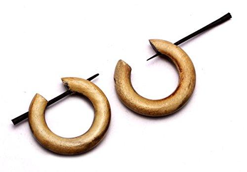 (Krishna Mart India a Pair of African Tribal Ebony Organic Tibetan Brown Wood Round Big for Women Girls Ethnic Wooden Earrings Dangle Stick Fashion Jewelry Hippie Boho Gypsy Coconut Loco Fake Aisew_282)