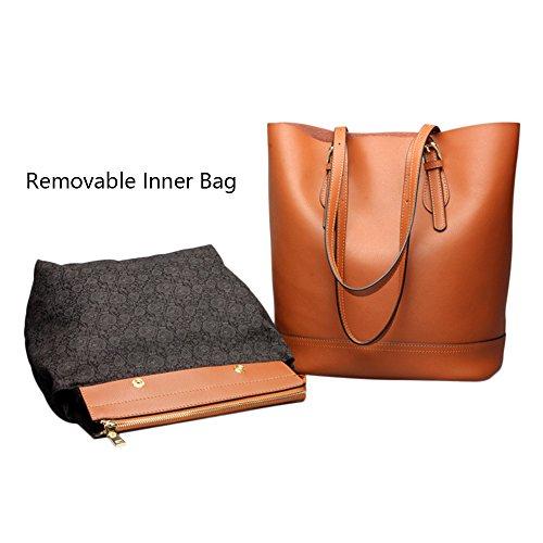 Myleas Echtes Leder Frauen Handtasche Schulter Eimer Tasche Organisieren Geldbörse Schwarz QfGdMG