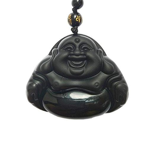 - AKT Amethyst Bodhisattva Pendant,Black Obsidian Jewelry Pendant,Amulet Necklace Hand Carved Natural (Buddha)