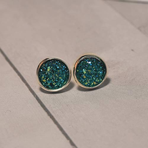 (Caribbean Sea Candy Druzy Earrings by Amaranth and Rue )