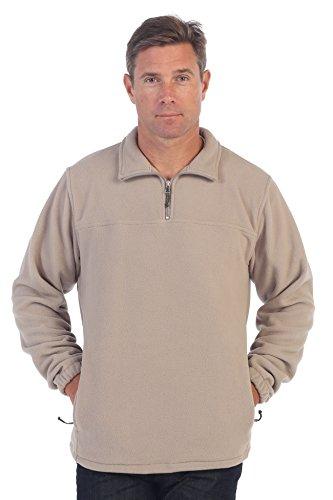 Gioberti Mens Half Zip Polar Fleece Jacket, Khaki, - Half Khaki