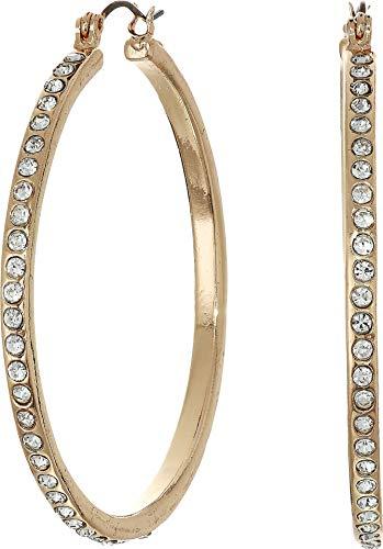 GUESS Women's Rhinestone Hoop Earrings Gold 1 One Size