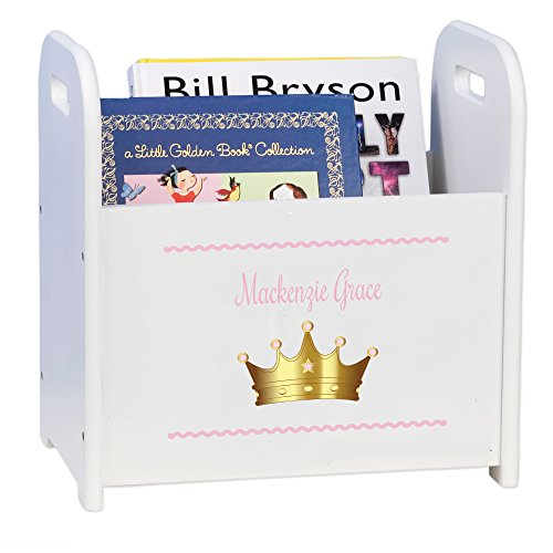 (Personalized Pink Princess Crown White Book Caddy and Rack)