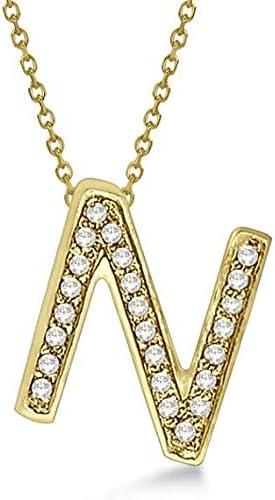 De la A a la Z Letras iniciales Diamantes Colgantes Collares en sólido 14 k Oro amarillo Joyas personalizadas minimalistas hechas a mano