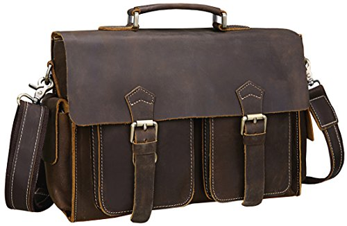 Iswee Vintage Leather Messenger Bag 13.3'' Laptop Briefcase Shoulder Bag for Men by Iswee