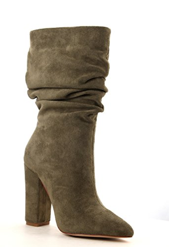 Cape Robbin Beautiful64 Olive Vegan Suede Pointed Toe Slouchy Mid Calf Fashion Boots GifMb6uiV