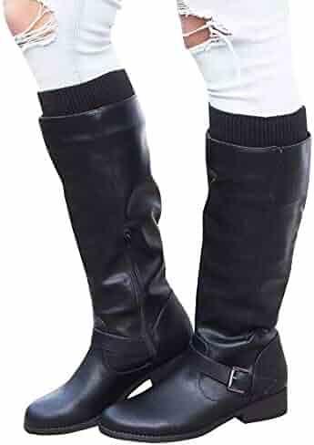 23e0c22a1727 Syktkmx Womens Winter Leg Warmer Knee High Boots Moto Riding Flat Chunky  Low Heel Closed Toe