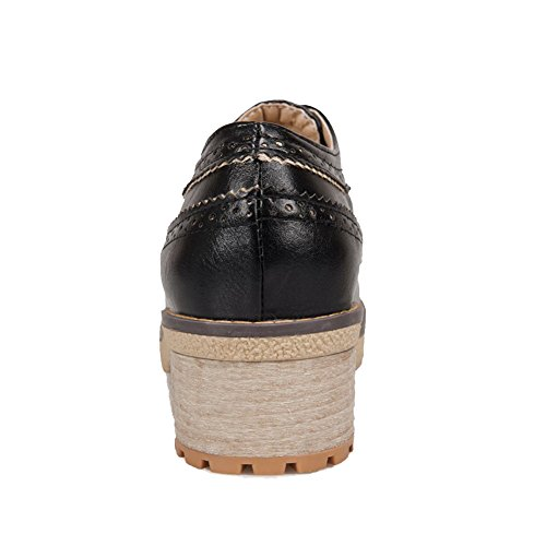 VogueZone009 Women's Kitten Heels Solid Lace up Soft Material Round Closed Toe Pumps-Shoes Black VSatVSP
