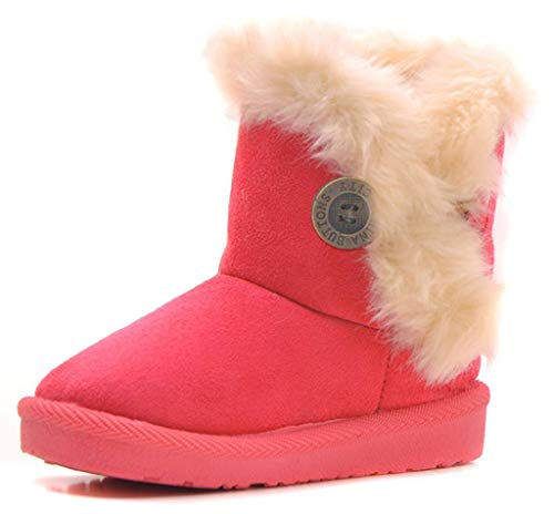 IOO Baby Girls Boys Plush-Filled Bailey Button Snow Boots Warm Winter Flat Shoes (Toddler/Little Kid) -