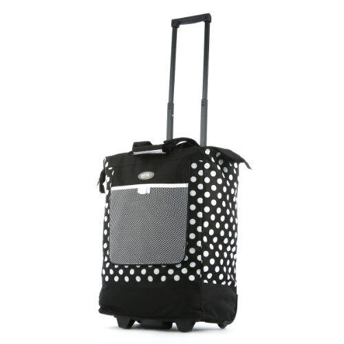 (Olympia Luggage Rolling Printed Shopper Tote, Black, One Size)