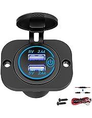Qidoe Auto USB-stopcontact 12 V-24 V met schakelaar, auto-oplader, USB-inbouw, bus, waterdicht, sigarettenaansteker, aansluiting met blauwe LED, 5 V, 4,8 A, voor motorfiets, boot, vrachtwagen, caravan, ATV