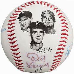(Larry Doby Bobby Thomson Don Larsen Autographed Signature Baseball Assistance Team Fotoball)
