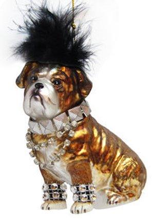 December Diamonds Blown Glass Ornament - Bulldog Dressed in Punk