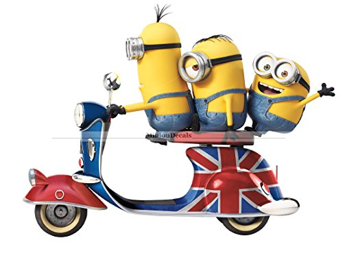9 Inch Stuart Kevin Bob Uk Scooter Minions Despicable Me Removable Wall Decal Sticker Art Home Decor Kids Room-9 Inch Wide By 6 3/4 Inch (Minion Gru)